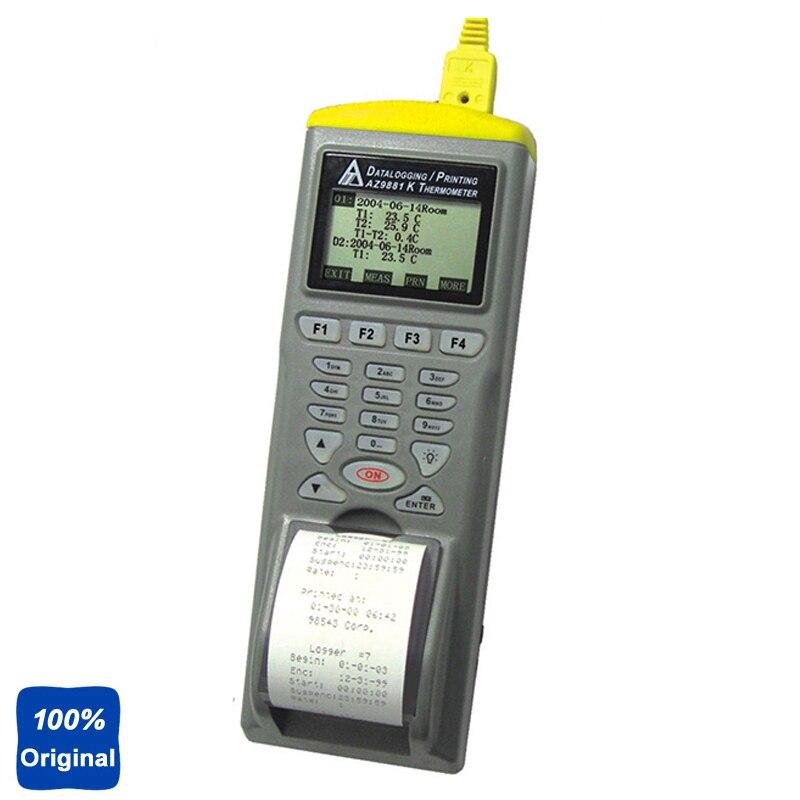 Портативный цифровой K двойной Вход термопара регистратор temp. Logger с принтера AZ-9881