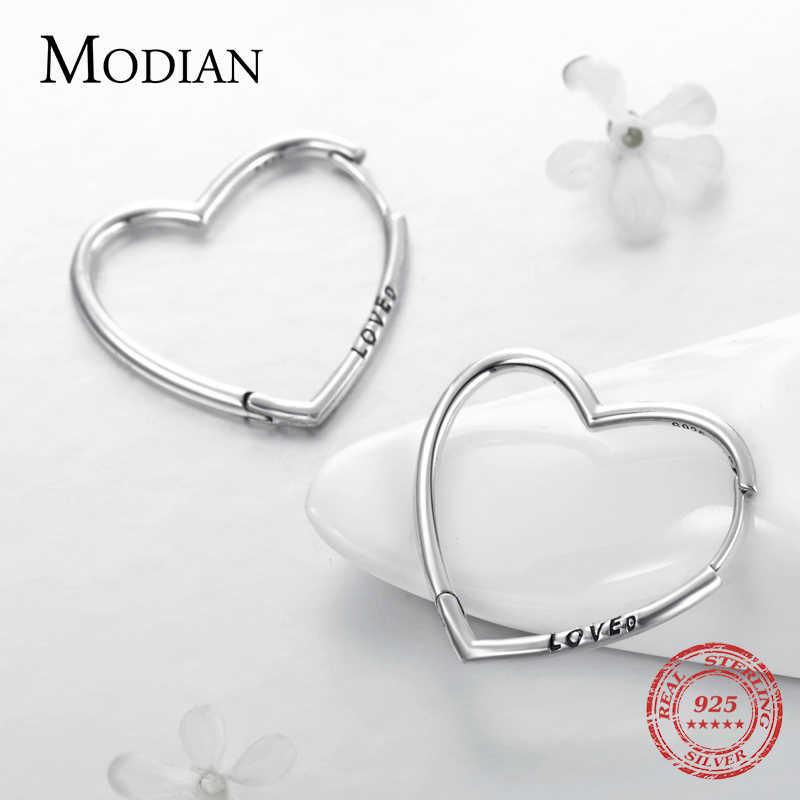 100/% Authentic S925 Sterling Silver Rose Asymmetric Heart Hoop Earrings Loved