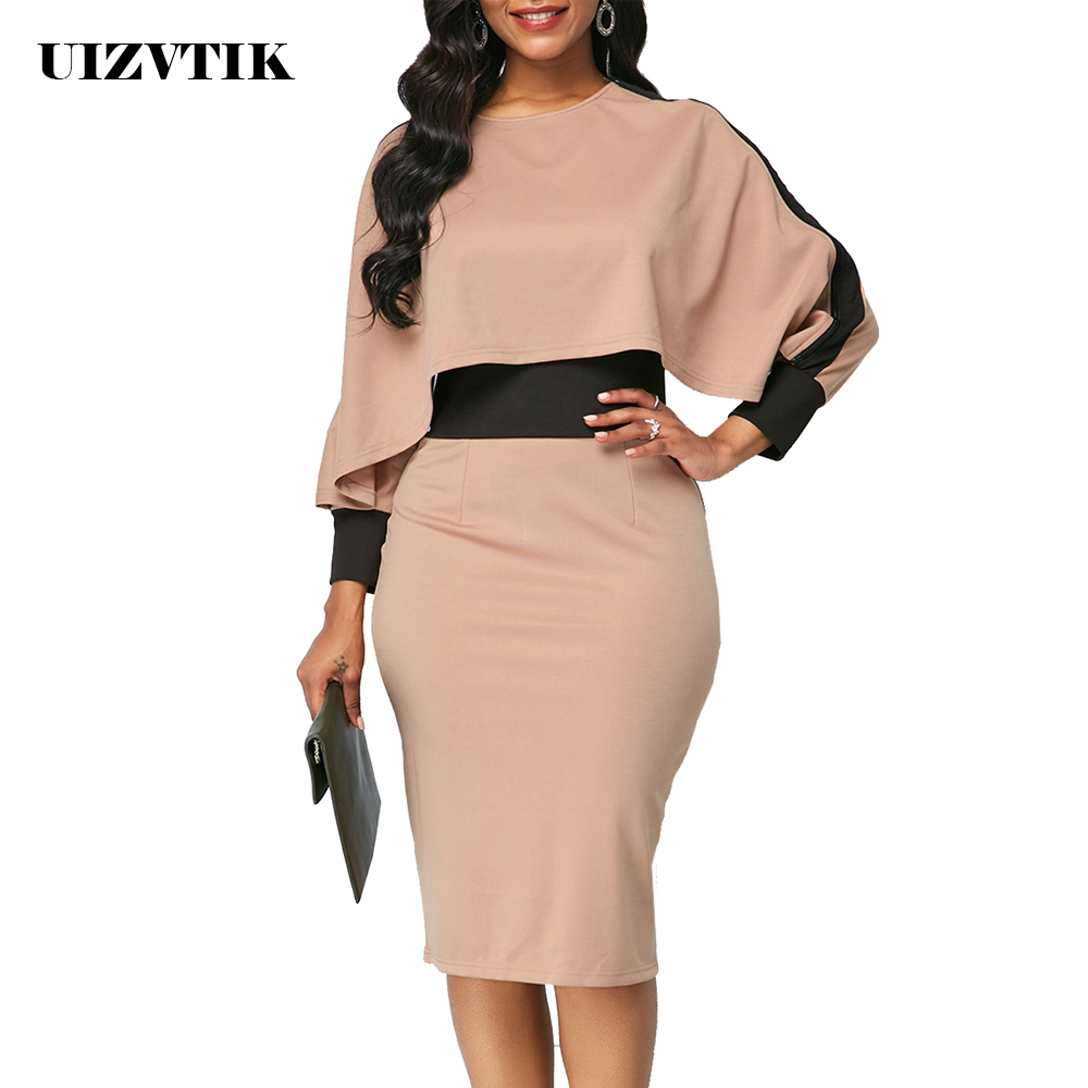 Winter Autumn Dress Women 2019 Casual Plus Size Slim Office Bodycon Dresses Elegant Vintage Sexy Split Patchwork Party Dress 5XL