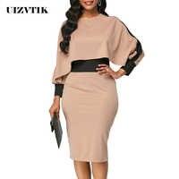 Winter Autumn Dress Women 2019 Casual Plus Size Slim Office Bodycon Dresses Elegant Vintage Sexy Split Patchwork Party Dress 5XL