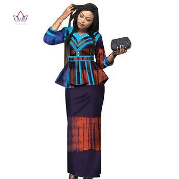0e17ab31959c Nueva falda dashiki de África conjunto ropa tradicional africana para  mujeres Bazin Riche falda de talla grande conjunto estampado ropa de mujer  ...