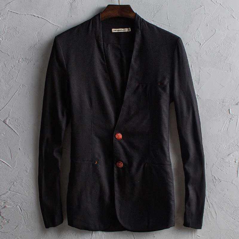 春秋のファッションコットンリネンブレザー男性カジュアルリネンスーツのジャケットスリムフィットコートカーディガンメンズ服