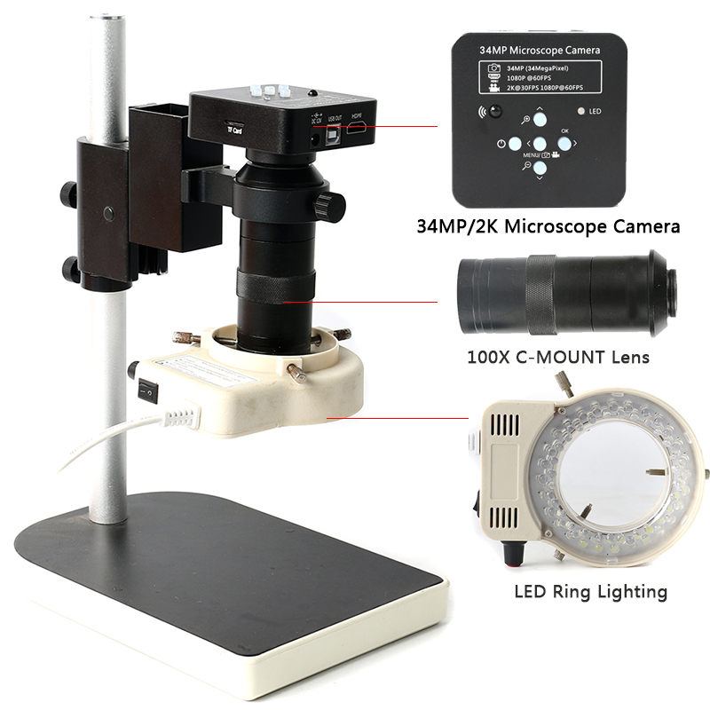 1080P 60FPS 34MP HDMI USB Industrial Camera 2K TF Video Recorder 100X Electronic Microscope Camera For Lab PCB IC CPU Soldering