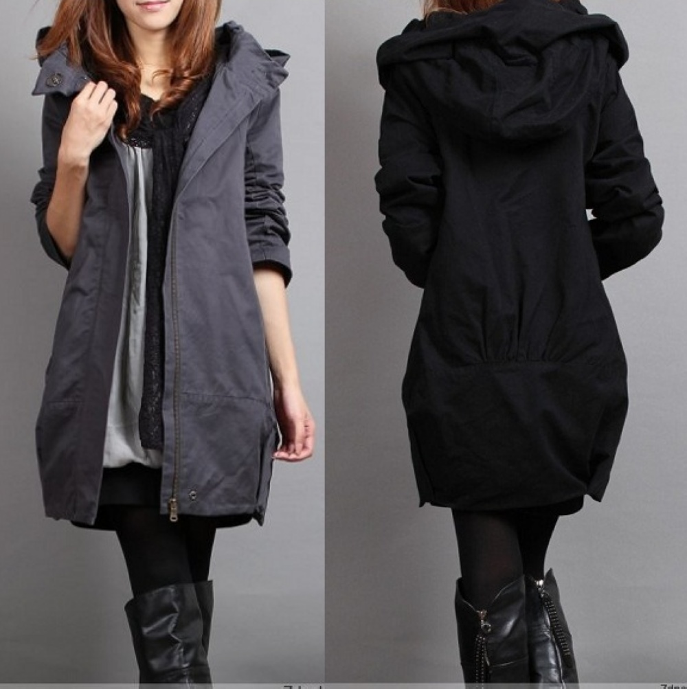 Plus size   trench   plus size solid color hooded women clothing autumn MM warm outwear 2017 spring slim   trench   outerwear MZ814