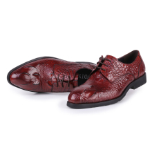 Crocodile grain black / wine red mens dress shoes wedding shoes genuine leather oxfords office shoes mens business shoes