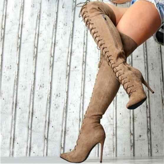 Envío Directo invierno moda mujer sólido Borgoña gris negro caqui punta puntiaguda tacones sobre la rodilla encaje hasta el muslo botas