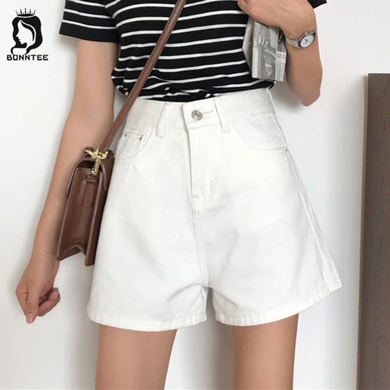 Shorts Loose High Waist Korean Style Sweet School Students Women Casual Pockets Short Solid Button Fly Womens Simple Designed