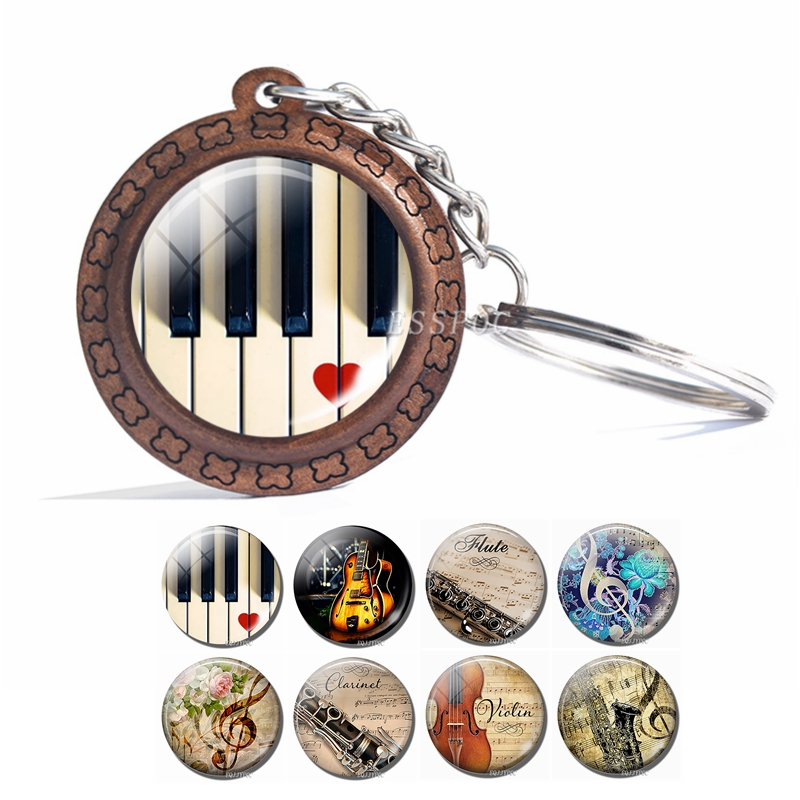 Music Instrument Picture Keychain Piano Guitar Clarinet Flute Violin Sax Glass Cabochon Wooden Keychain Fashion Accessories