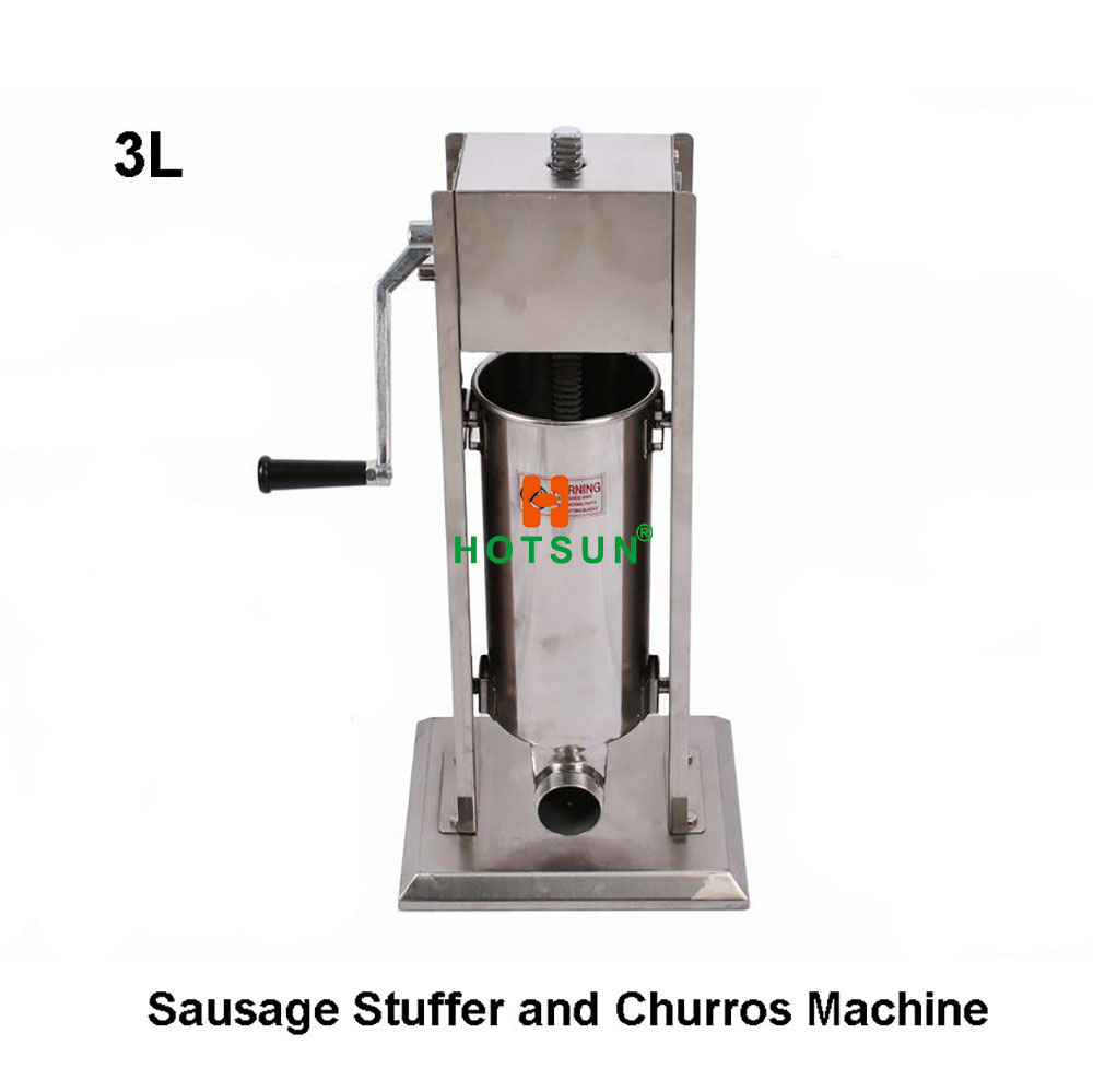 Stainless Steel Commercial Manual 3L Hand Crank Sausage Stuffer Machine t 03 stainless steel mini manual donuts machine manufacturer hand taper hopper with stand 3l 5l