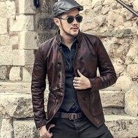Новые мужские винтажные старый темно красный двубортный натуральная кожа овчины куртка метросексуалов Мужская Повседневная мода Тонкий З
