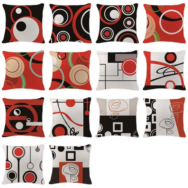 Modern Art Abstract Line Cushion Red Black Pillowcase custom linen geometirc cushions Sofa Home Decor