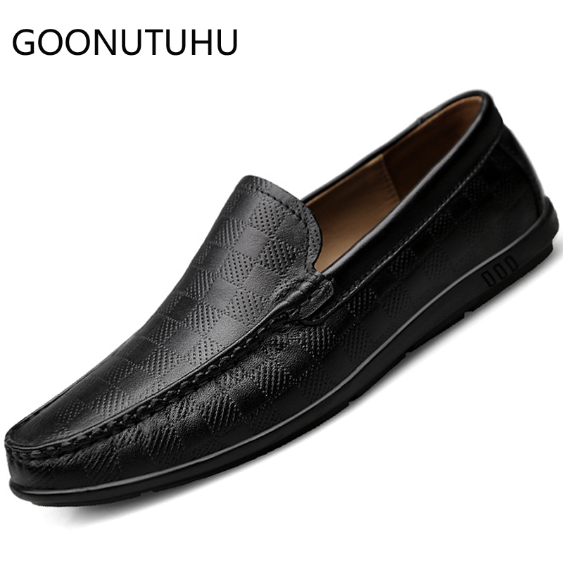 2019 New Fashion Men's Shoes Casual Genuine Leather Loafers Man Black And White Slip On Shoe Male Driving Shoes For Men Hot Sale