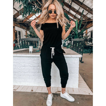 Hot Selling Women Clubwear Jumpsuit Short Sleeve Off Shoulder Female High Waist