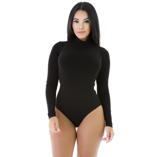 SEBOWEL 2016 Black Stretchy Turtleneck Long Sleeve Bodysuit New Arrival Fall Bodysuit for Women Winter Bodysuit Clothes LC32081