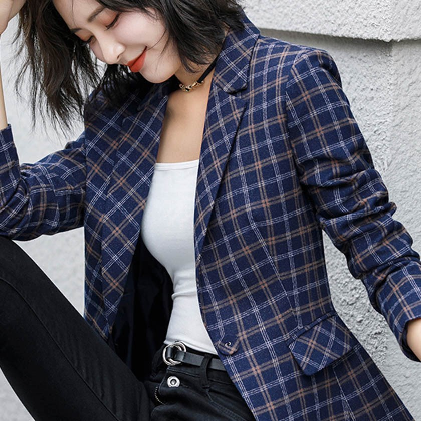 Women Autumn Winter Plaid Blazers Elegance Pockets Full Sleeve Single Button Slim Blazers