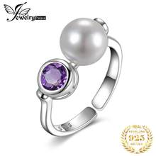JewelryPalace Art Deco Genuine Bazel Set Purple Amethyst 8mm Round Shape Shell Pearl Adjustable Open Ring 925 Sterling Silver(China)