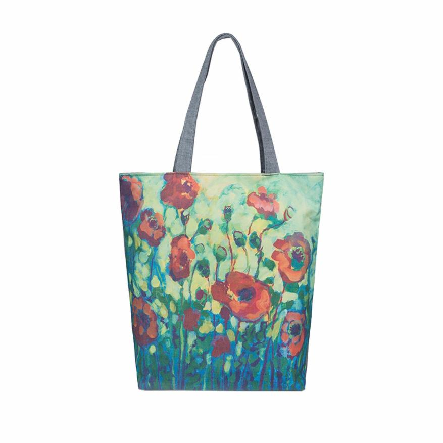 70c939153232 Painting Flowers Canvas Tote Casual Beach Bags Women Shopping Bag Handbags  bags for women bolsos mujer LREW