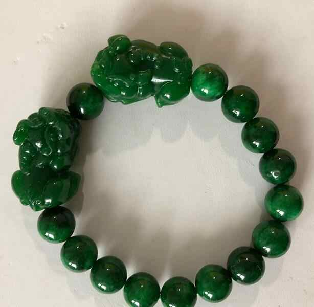 Wholesale Dry Green Natural Stone Bracelets 10mm Round Bead With Hand Caved Double Pixiu Bracelet for Men Women Bracelet Jewelry