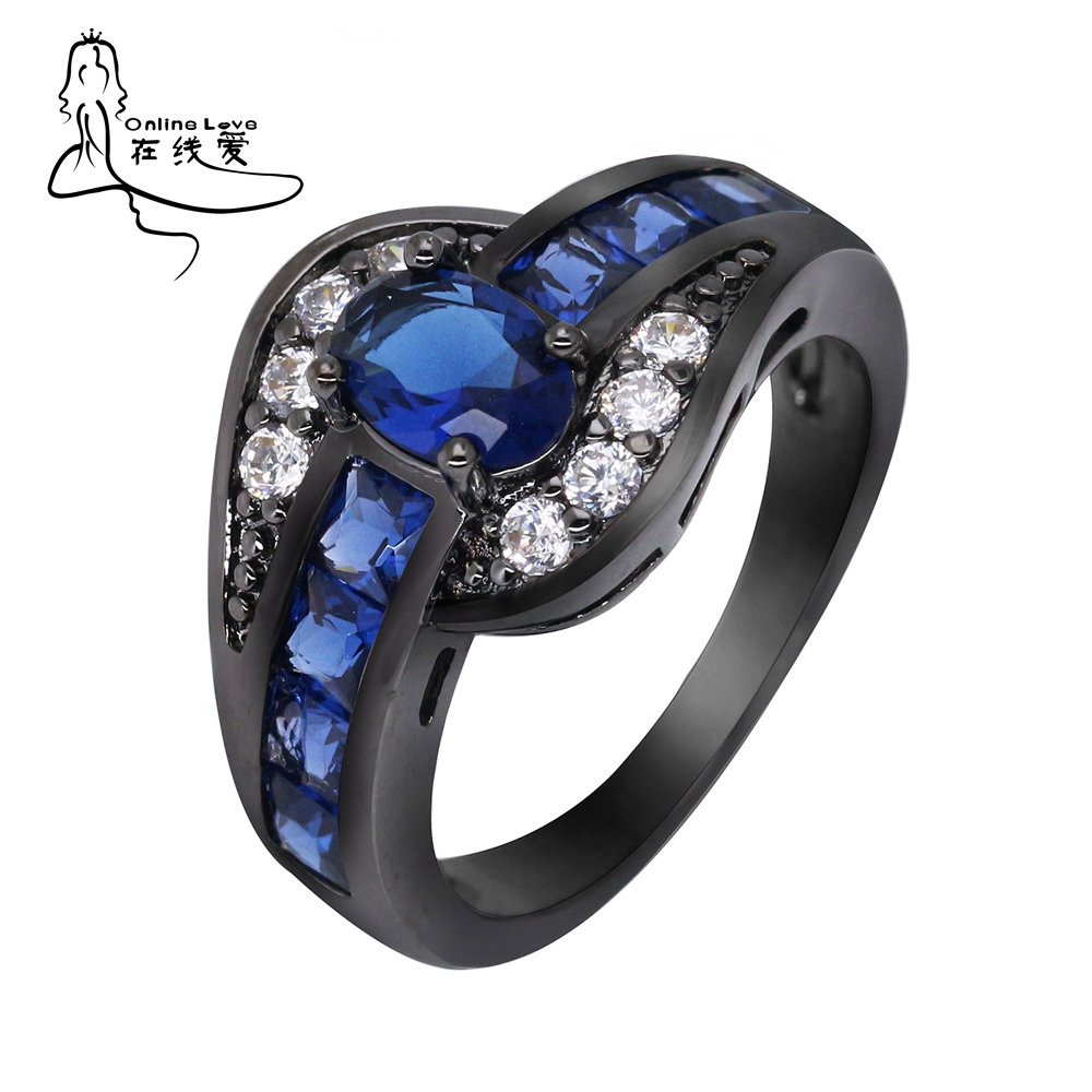 Special Design Vintage Black Gun Plated Loyal Blue CZ Ring ...