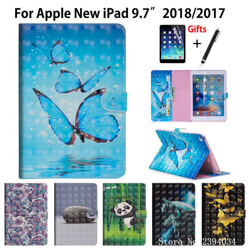 3D Cartoon painted Case Cover For Apple iPad 9.7 2017 2018 5th 6th Generation A1893 A1954 Funda Coque Stand Shell +Stylus+film
