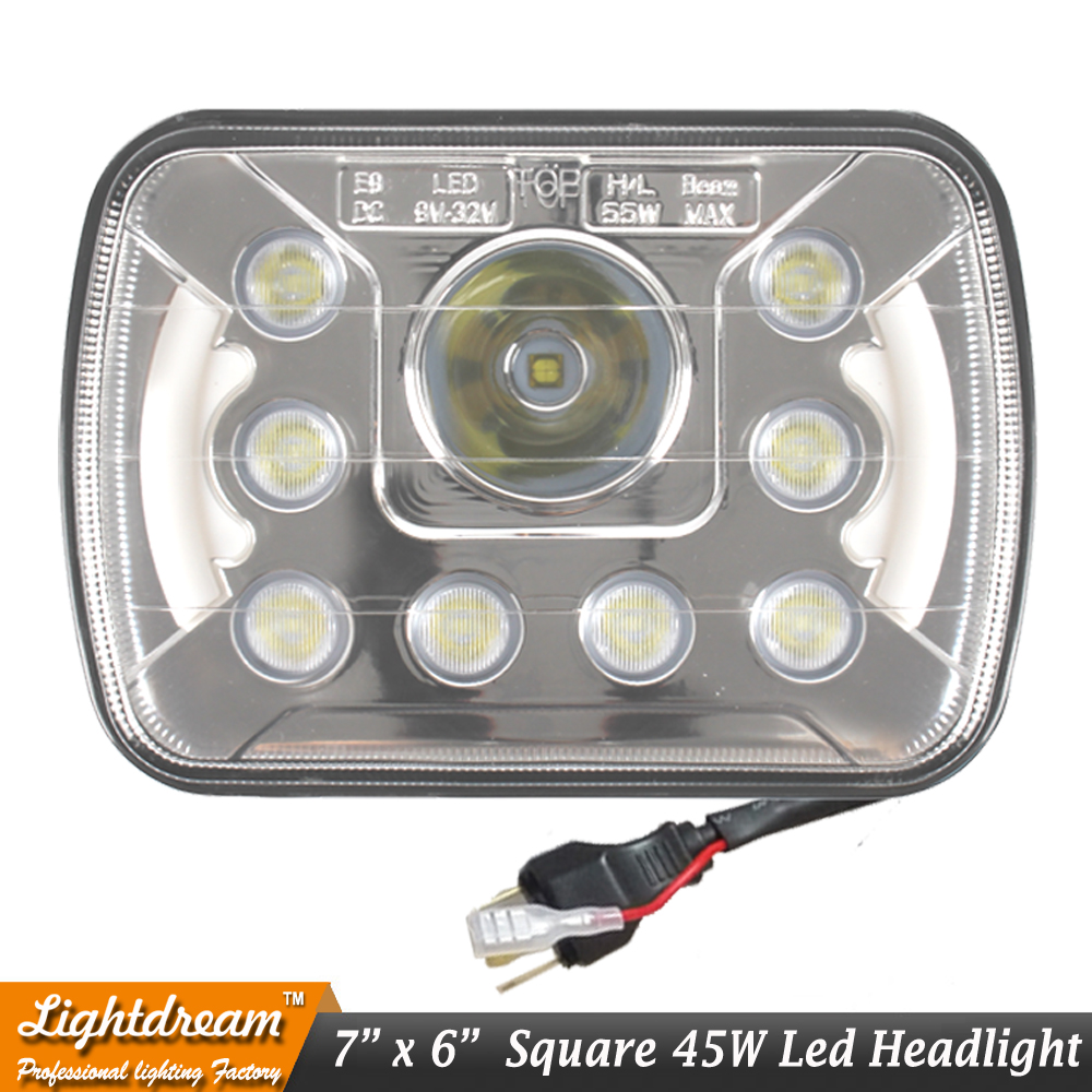 Aliexpress com buy 7x6 led headlights crystal clear sealed beam h4 headlamp with angel eyes fit for 240sx supra celica tacoma pick up cherokee x1pc from