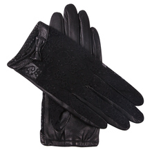 Genuien Leather Woman Gloves Spring Autumn Driving Black Lace Sheepskin Female Thin Style Unlined Touchscreen L17015-9