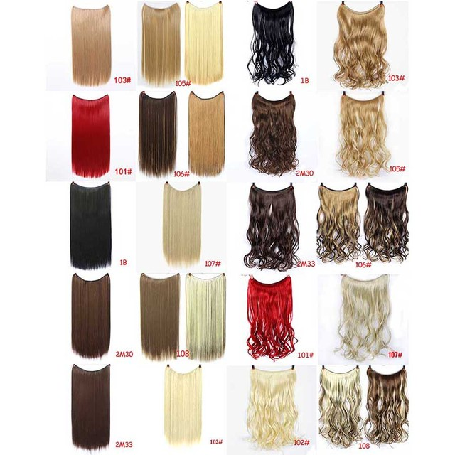 DIFEI 24 inches Clip on Wire Fish Line Hair Extensions Secret Invisible Wire One Piece for Ombre Hair Synthetic Hairpiece 1