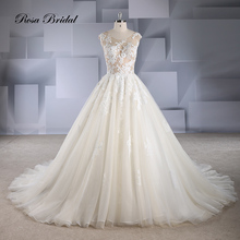 Rosabridal A Line Wedding Dress O neck Cap Sleeves backless  beading lace appliques nude tulle gown with court train tail