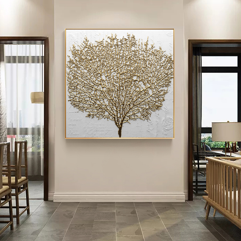Wall Decorative Painting Posters And Prints Wall Art Canvas Painting Abstract Golden Tree Pictures For Living Room No Frame
