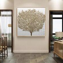 Настенная декоративная живопись плакаты и принты, настенная живопись на холсте, абстрактные картины с золотым деревом для гостиной, без рамки