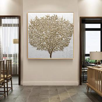 Dekoracja ściany malarstwo plakaty i druki obraz ścienny na płótnie streszczenie złote drzewo zdjęcia do salonu bez ramki tanie i dobre opinie Płótno wydruki Unframed Wodoodporny tusz Pojedyncze Malowanie natryskowe PC6553 Plac FajerminArt Abstract Tree High Quality Digital Printed