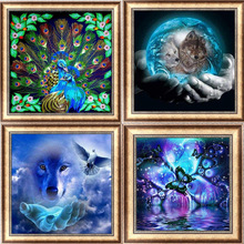 5D Diy Diamond Painting Cross Stitch Peacock, Wolf  Embroidery Full Circle Mosaic Picture