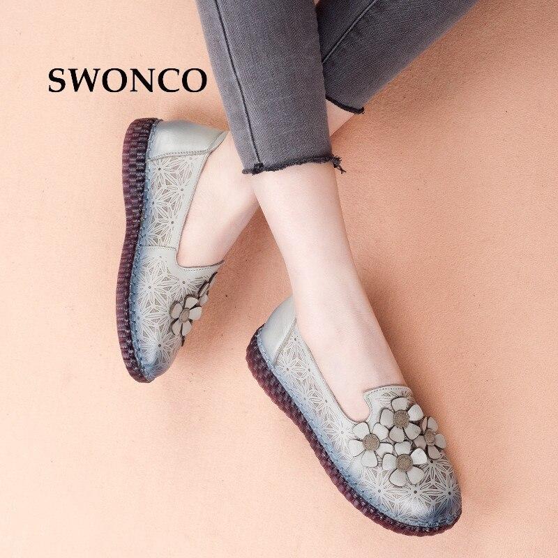 SWONCO Women's Flats Shoe 2018 Spring Summer Genuine Leather Handmade Shoe Women Shoes Genuine Leather Flat Shoes Woman Footwear