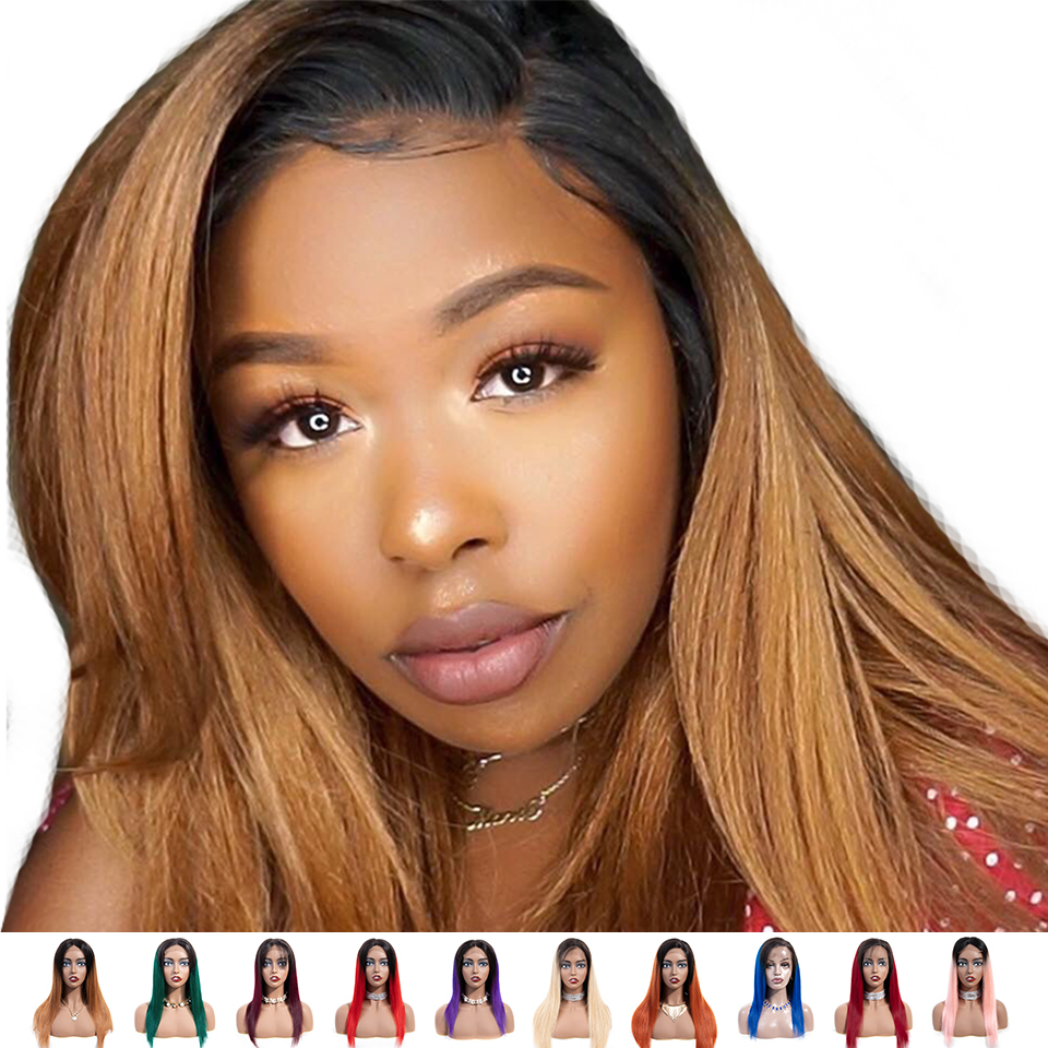 SEXAY Lace Front Ombre Human Hair Wigs For Black Women Blonde/Burgundy/Brown/Green/Blue/Pink/Purple Ombre Lace Front Wig Remy