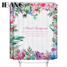 Floral Shower Curtain Flowers Customized Shower Curtain Waterproof Polyester Fabric Shower Curtain For Bathroom With 12 Hooks mermaid sequins waterproof polyester shower curtain with hooks