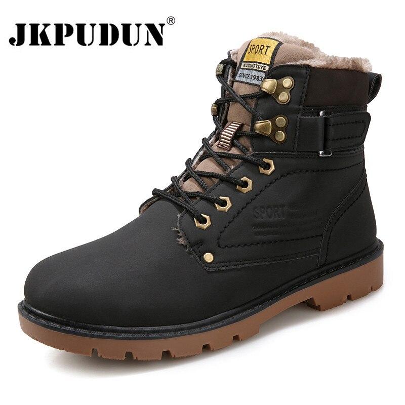 JKPUDUN Botas de tobillo de invierno calientes hombres zapatos casuales con cordones de cuero de otoño a prueba de agua herramientas de trabajo Botas para hombres ejército militar Botas