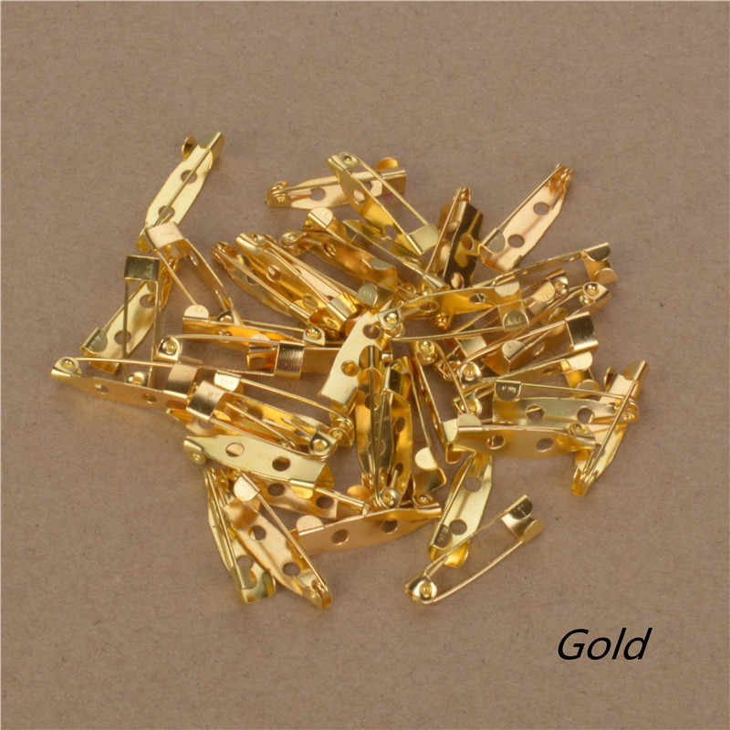Perhiasan temuan bros basis kosong pengaturan kembali pin jarum keselamatan bar logam lem pada scrapbook membuat 15 20 25 30mm panjang emas