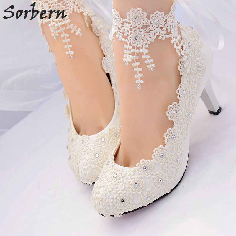 4bba425ff ... Sorbern белые свадебные туфли лодочки женская обувь комплектующие для  бижутерии из кристала и Кружева реальное изображение