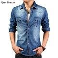 2016 Marca Denim Camisas Dos Homens de Manga Comprida Casual Camisa de Forma Magro Calça Jeans Camisa Masculina Camisas de Brim Azul Homme