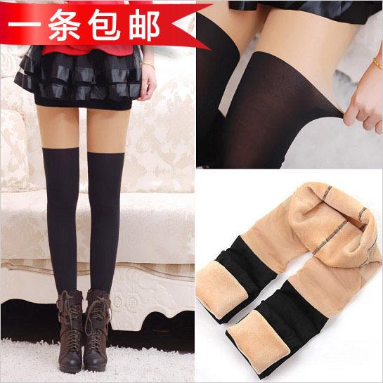 Envío libre Envío Libre no se invierte costuras de color de espesor polainas de terciopelo cálido pantalones jugando en la piel debajo de negro un falso