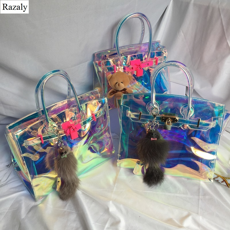Razaly brand high quality clear laser pink lock big bag gold jelly pvc small satchels lady tote 2018 summer beach large handbags