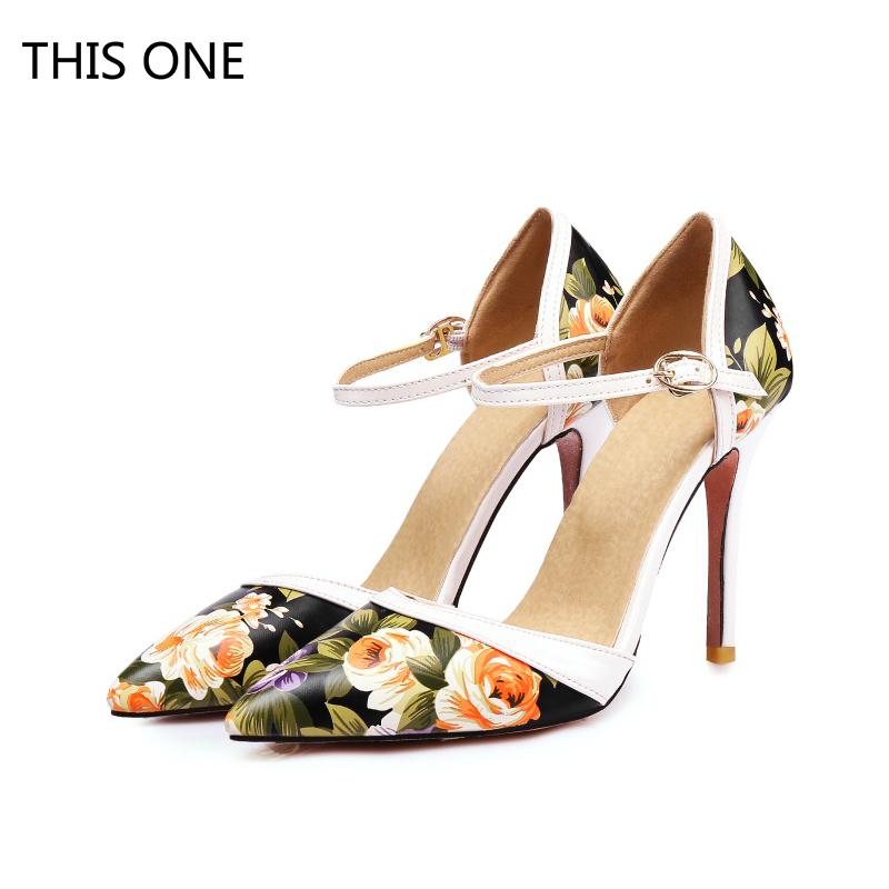 Hot sell 3 Colors Size 34-47 Sexy Lady High Heel Sandals Women Ankle Strap buckle Sandal Office Summer Printed flowers Shoes цена 2017