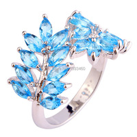 Saucy Olive Branch Design New Fashion Blue Topaz 925 Silver Ring Size 7 8 9 10Women Jewelry For Gift  Wholesale Wholesale