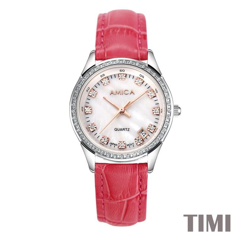 AMICA nouvelle mode 2017 bracelet de montre rouge en acier blanc SURFACE ROSE GLOD pointeur femmes QURATZ montre LADYS montre A7-14AMICA nouvelle mode 2017 bracelet de montre rouge en acier blanc SURFACE ROSE GLOD pointeur femmes QURATZ montre LADYS montre A7-14