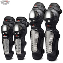 WOSAWE 4Pcs/Set Stainless Steel Elbow Knee Pads Motorcycle Knee Pad Armor Moto Racing Knee Protective Gear Protector Guards 1 pair protective cycling guards waterproof gear safety adjustable equipment riding thicken warm motorcycle knee pads pu racing