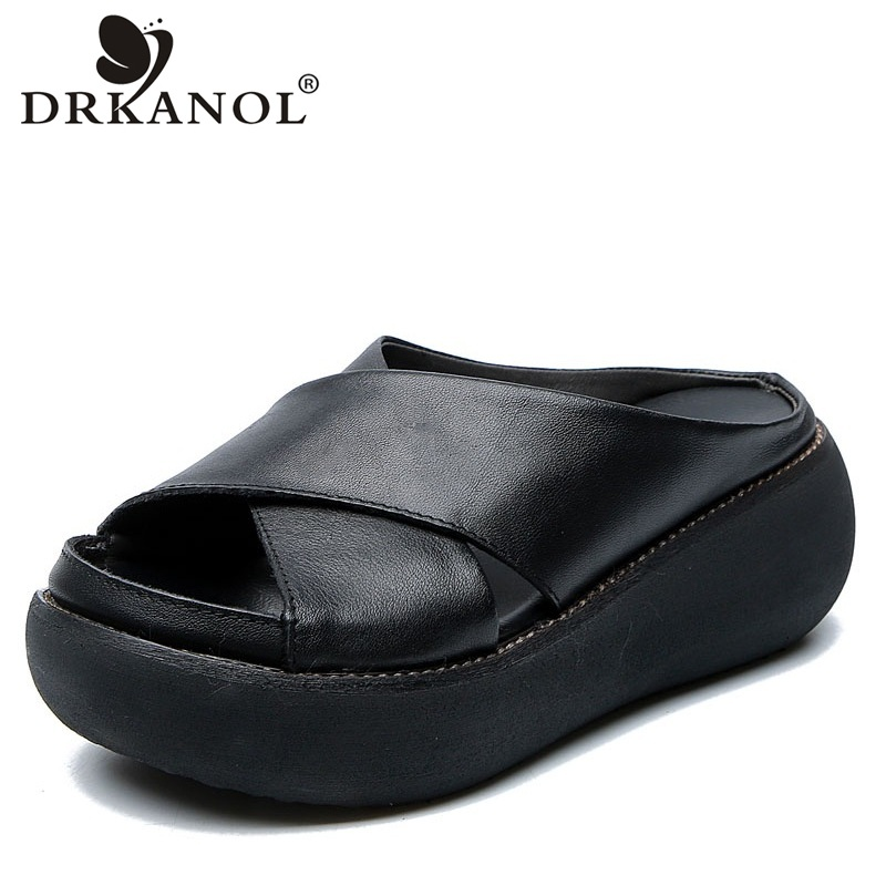 DRKANOL Women Slippers Summer Wedges Shoes Quality Genuine Leather Peep Toe Retro High Heel Sandals Women Platform Slippers