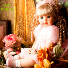 DollMai 60cm High-end vinyl silicone reborn baby doll toy toddler girl babies princess  kids bebe birthday gift bonecas
