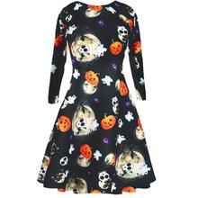 5519e1c50d4d HimanJie Ladies Womens Halloween Costume Swing Skater Pumpkin Long Sleeve  Dress