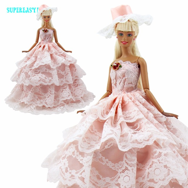 Gaun putri merah muda buatan tangan partai gaun multi-lapisan topi pakaian  untuk barbie boneka 989cd32559