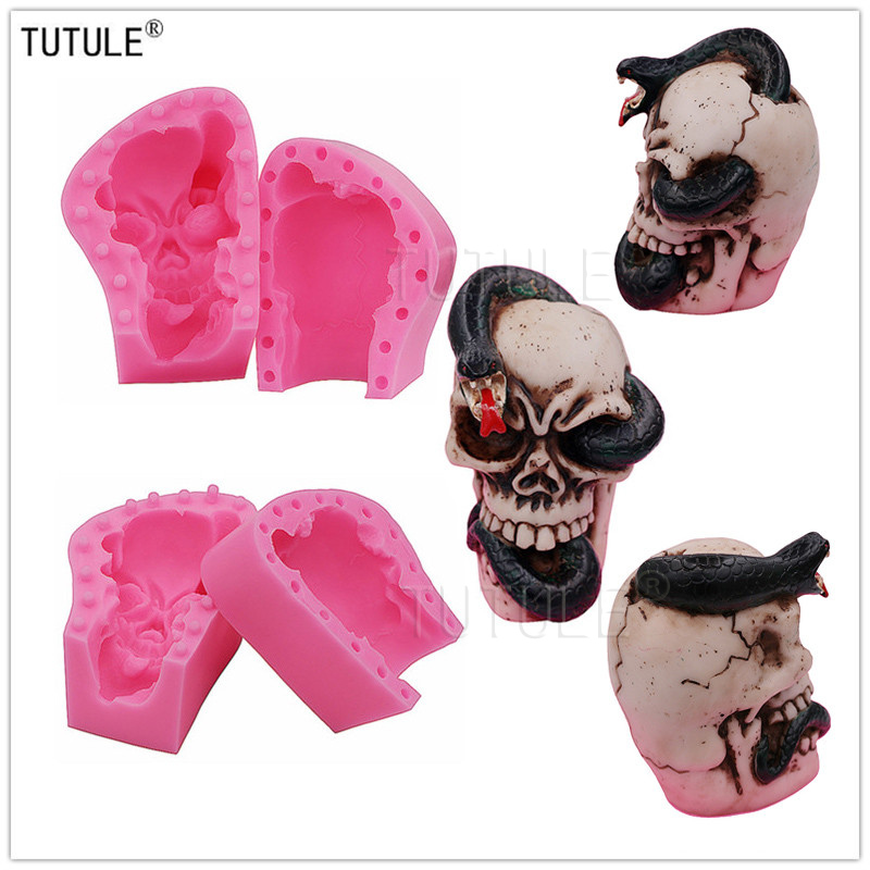 US $10 3 55% OFF|Gadgets Snake into the human skull mold Hand of the  skeleton 3D molds Hand Silicone Mold Craft Halloween Zombie Mold-in Cake  Molds